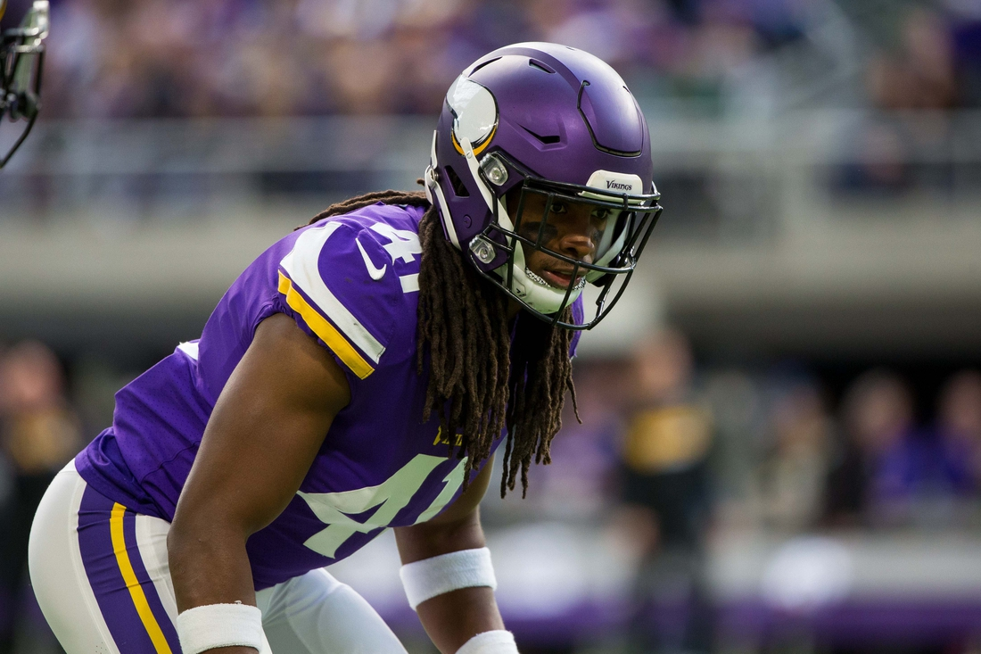 Oct 15, 2017; Minneapolis, MN, USA; Minnesota Vikings defensive back Anthony Harris (41) in the second quarter against the Green Bay Packers at U.S. Bank Stadium. Mandatory Credit: Brad Rempel-USA TODAY Sports