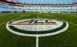 Dec 2, 2017; Charlotte, NC, USA; A view of the ACC logo on the field prior to the game between the Clemson Tigers and the Miami Hurricanes in the ACC championship game at Bank of America Stadium. Mandatory Credit: Jeremy Brevard-USA TODAY Sports