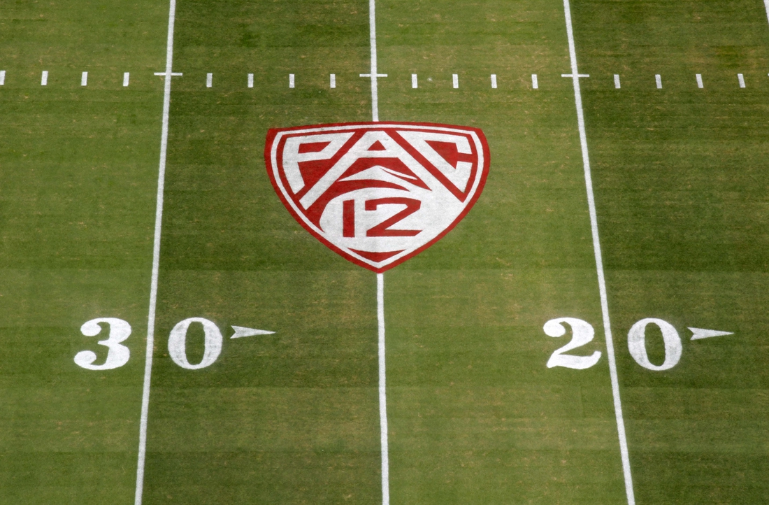 Sep 8, 2018; Stanford, CA, USA; General overall view of the Pac-12 Conference logo on the field during the game between the Southern California Trojans and the Stanford Cardinal at Stanford Stadium. Mandatory Credit: Kirby Lee-USA TODAY Sports