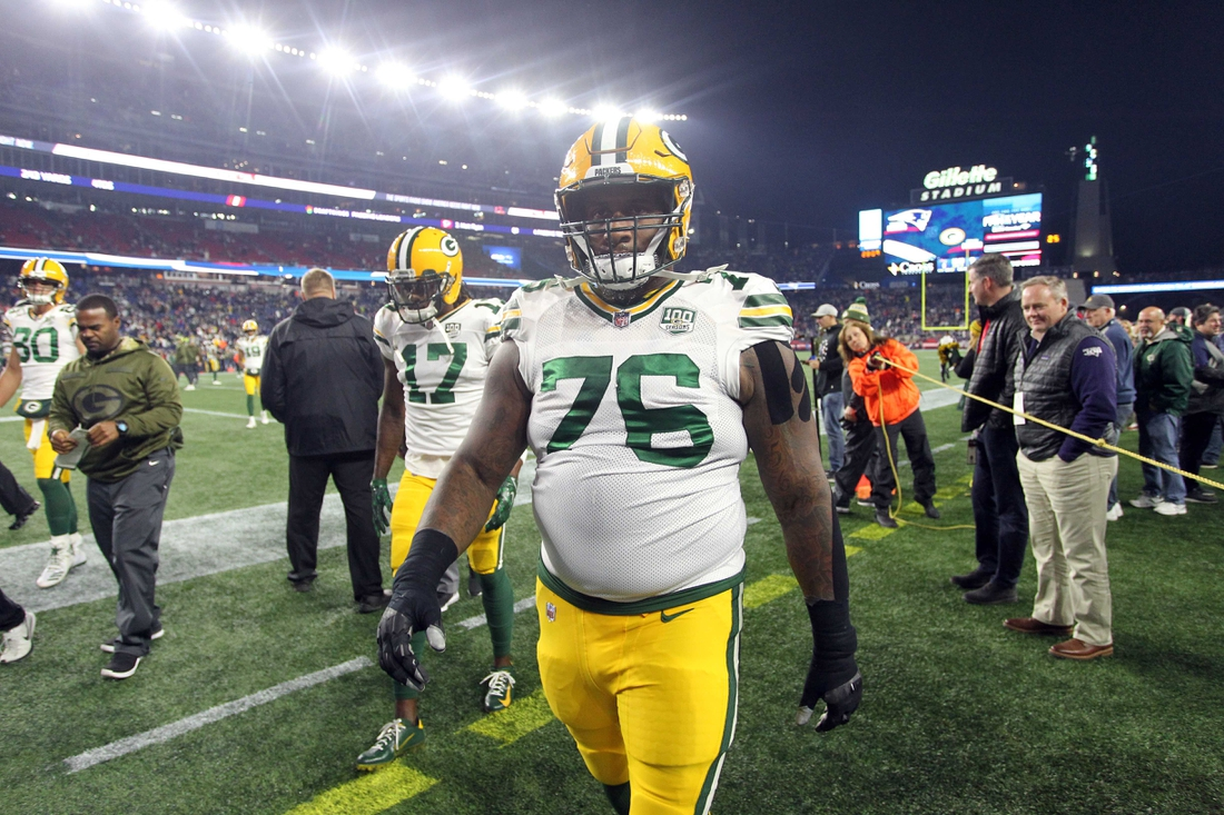 Nov 4, 2018; Foxborough, MA, USA; Green Bay Packers defensive tackle Mike Daniels (76) walks the field prior to a game against the New England Patriots at Gillette Stadium. Mandatory Credit: Stew Milne-USA TODAY Sports