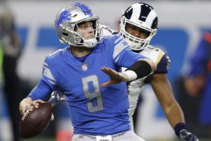 Dec 2, 2018; Detroit, MI, USA; Detroit Lions quarterback Matthew Stafford (9) prepares to throw the ball during the fourth quarter against the Los Angeles Rams at Ford Field. Mandatory Credit: Raj Mehta-USA TODAY Sports