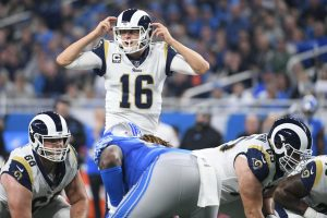 Dec 2, 2018; Detroit, MI, USA; Los Angeles Rams quarterback Jared Goff (16) during the game against the Detroit Lions at Ford Field. Mandatory Credit: Tim Fuller-USA TODAY Sports
