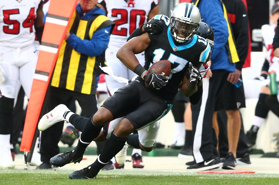Dec 23, 2018; Charlotte, NC, USA; Carolina Panthers wide receiver Devin Funchess (17) catches a pass in the fourth quarter against the Atlanta Falcons at Bank of America Stadium. Mandatory Credit: Jeremy Brevard-USA TODAY Sports