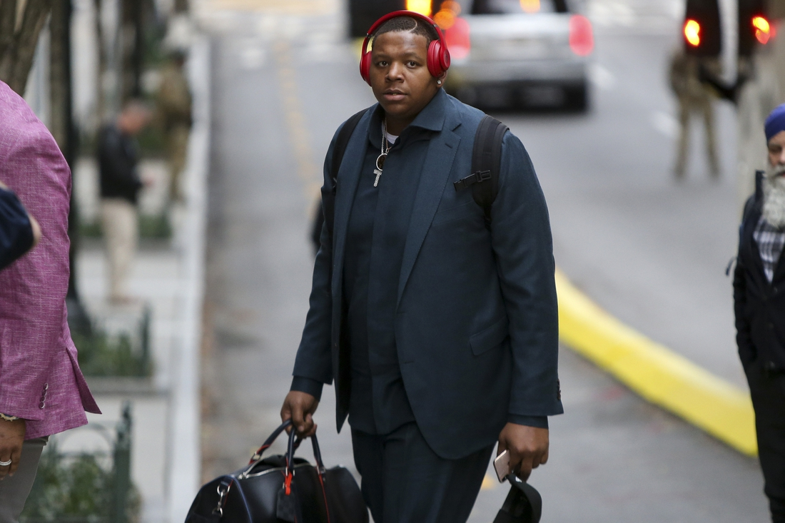 Jan 27, 2019; Atlanta, GA, USA; New England Patriots offensive tackle Trent Brown (77) arrives at the Hyatt Regency Atlanta. Mandatory Credit: Brett Davis-USA TODAY Sports