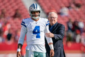 August 10, 2019; Santa Clara, CA, USA; Dallas Cowboys quarterback Dak Prescott (4) and owner Jerry Jones (right) before the game against the San Francisco 49ers at Levi's Stadium. Mandatory Credit: Kyle Terada-USA TODAY Sports
