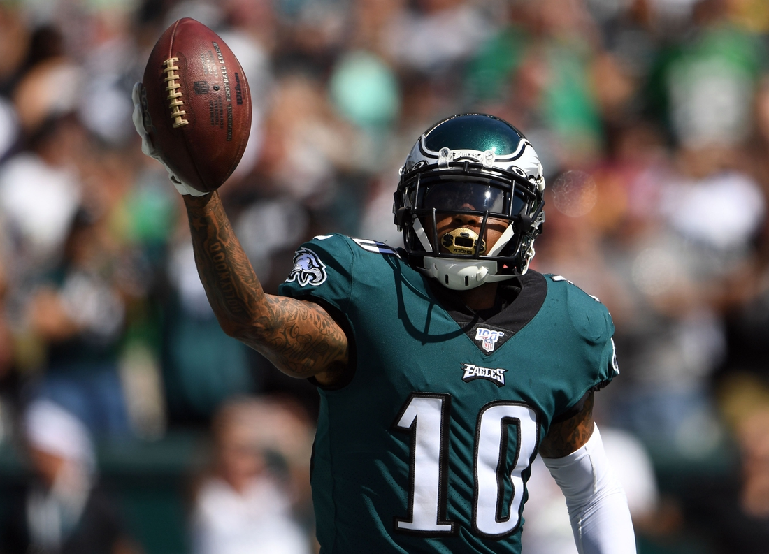 Sep 8, 2019; Philadelphia, PA, USA; Philadelphia Eagles wide receiver DeSean Jackson (10) celebrates his touchdown catch in the second quarter against the Washington Redskins at Lincoln Financial Field. Mandatory Credit: James Lang-USA TODAY Sports