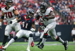 Oct 6, 2019; Houston, TX, USA; Houston Texans inside linebacker Zach Cunningham (41) and Atlanta Falcons offensive guard James Carpenter (77) in action during the game at NRG Stadium. Mandatory Credit: Troy Taormina-USA TODAY Sports