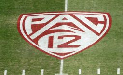 Oct 17, 2019; Stanford, CA, USA; Detailed view of the Pac-12 Conference  logo on the field at Stanford Stadium. Mandatory Credit: Kirby Lee-USA TODAY Sports