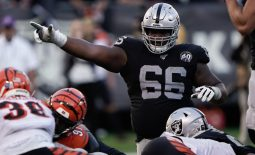 Nov 17, 2019; Oakland, CA, USA; Oakland Raiders offensive guard Gabe Jackson (66) signals against the Cincinnati Bengals during the fourth quarter at the Oakland Coliseum. Mandatory Credit: Stan Szeto-USA TODAY Sports