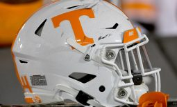 Nov 23, 2019; Columbia, MO, USA; A general view of a Tennessee Volunteers helmet during the second half against the Missouri Tigers at Memorial Stadium/Faurot Field. Mandatory Credit: Denny Medley-USA TODAY Sports