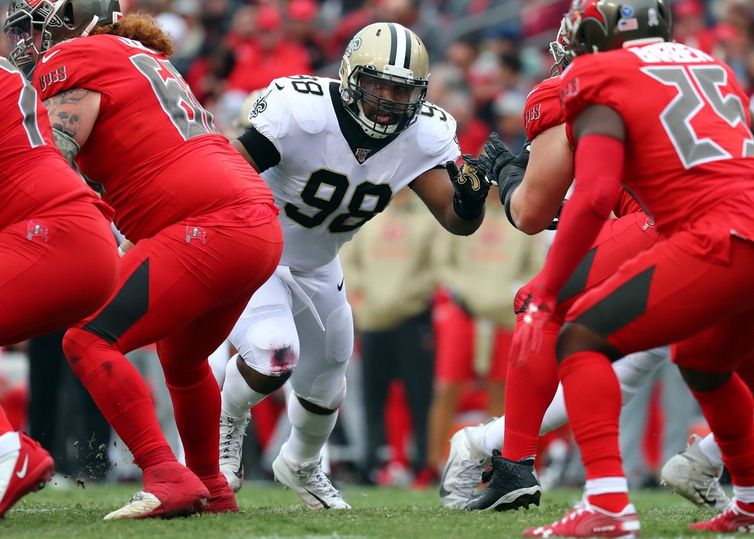 Nov 17, 2019; Tampa, FL, USA; New Orleans Saints defensive tackle Sheldon Rankins (98) rushes against the Tampa Bay Buccaneers during the second half at Raymond James Stadium. Mandatory Credit: Kim Klement-USA TODAY Sports