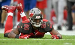 Dec 21, 2019; Tampa, Florida, USA; Tampa Bay Buccaneers tight end O.J. Howard (80) reacts during the fourth quarter against the Houston Texans at Raymond James Stadium. Mandatory Credit: Douglas DeFelice-USA TODAY Sports