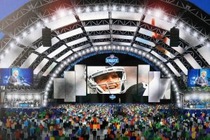 Jan 30, 2020; Miami, Florida, USA; Artist rendering ot the 2020 NFL Draft viewing zone in Las Vegas in front of the High Roller observation wheel during the Super Bowl LIV Experience at the Miami Beach Convention Center. Mandatory Credit: Kirby Lee-USA TODAY Sports