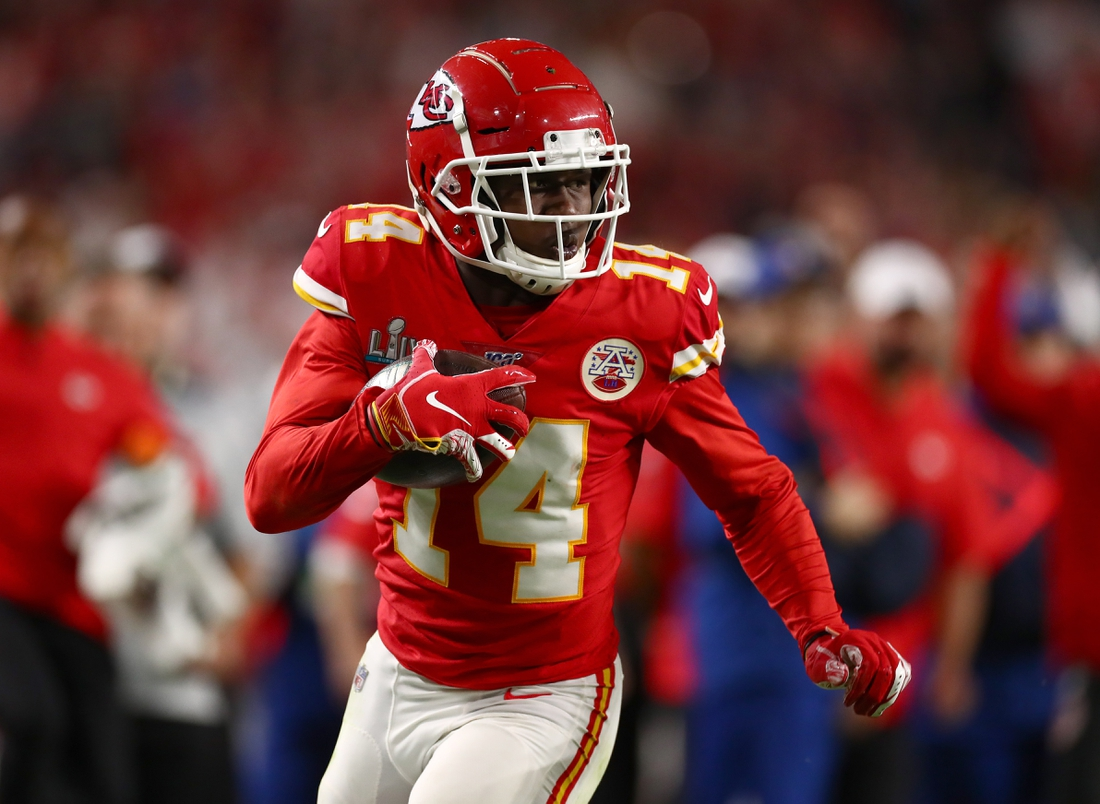 Feb 2, 2020; Miami Gardens, Florida, USA; Kansas City Chiefs receiver Sammy Watkins (14) runs after a reception against the San Francisco 49ers in Super Bowl LIV at Hard Rock Stadium. Mandatory Credit: Matthew Emmons-USA TODAY Sports