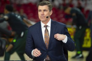 Feb 29, 2020; College Park, Maryland, USA;  American sports broadcaster Rece Davis stand curtsied before the between the Maryland Terrapins and the Michigan State Spartans is at XFINITY Center. Mandatory Credit: Tommy Gilligan-USA TODAY Sports