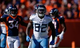 Oct 13, 2019; Denver, CO, USA; Tennessee Titans tight end Delanie Walker (82) reacts in the first quarter against the Denver Broncos at Empower Field at Mile High. Mandatory Credit: Isaiah J. Downing-USA TODAY Sports