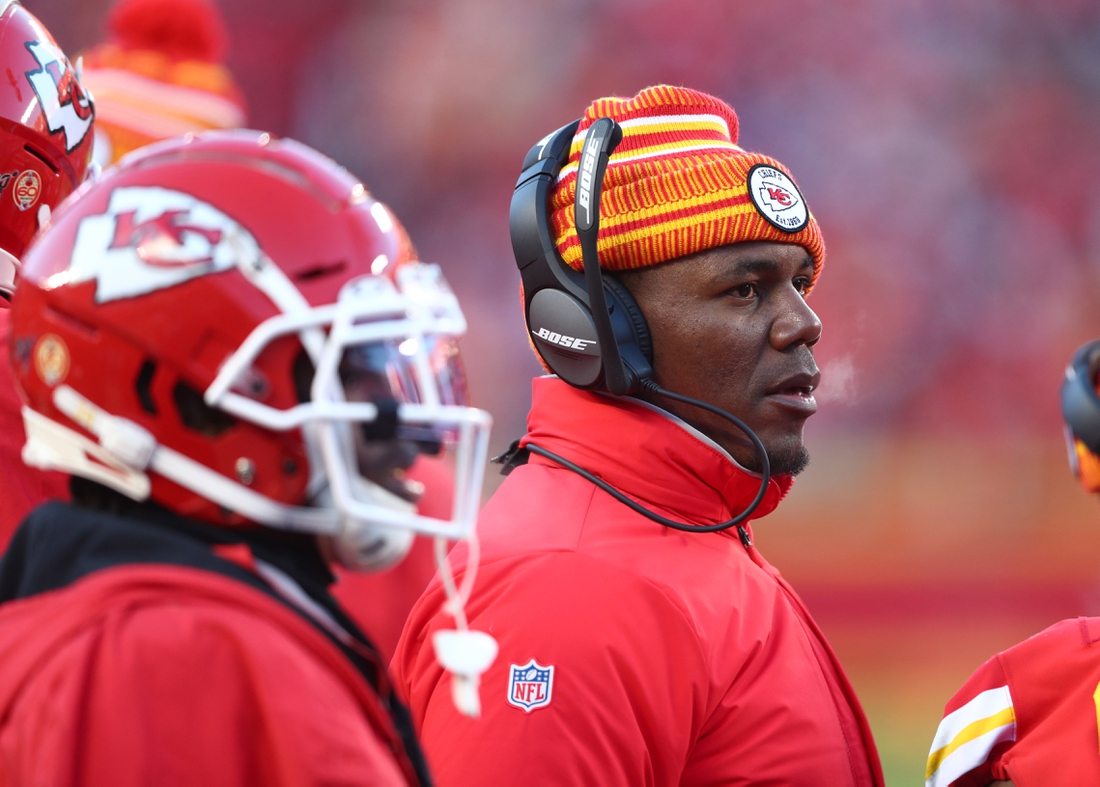 Jan 19, 2020; Kansas City, Missouri, USA; Kansas City Chiefs offensive coordinator Eric Bieniemy against the Tennessee Titans in the AFC Championship Game at Arrowhead Stadium. Mandatory Credit: Mark J. Rebilas-USA TODAY Sports