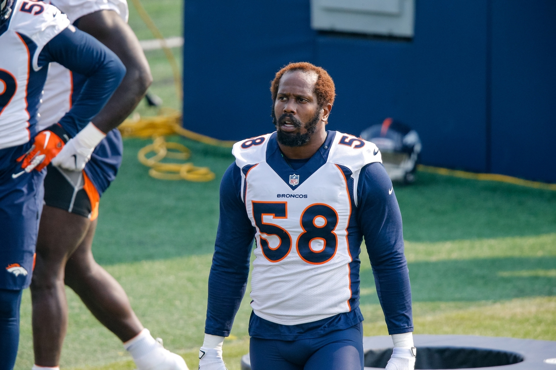 Aug 25, 2020; Englewood, Colorado, USA; Denver Broncos linebacker Von Miller (58) during training camp at the UCHealth Training Center. Mandatory Credit: Isaiah J. Downing-USA TODAY Sports