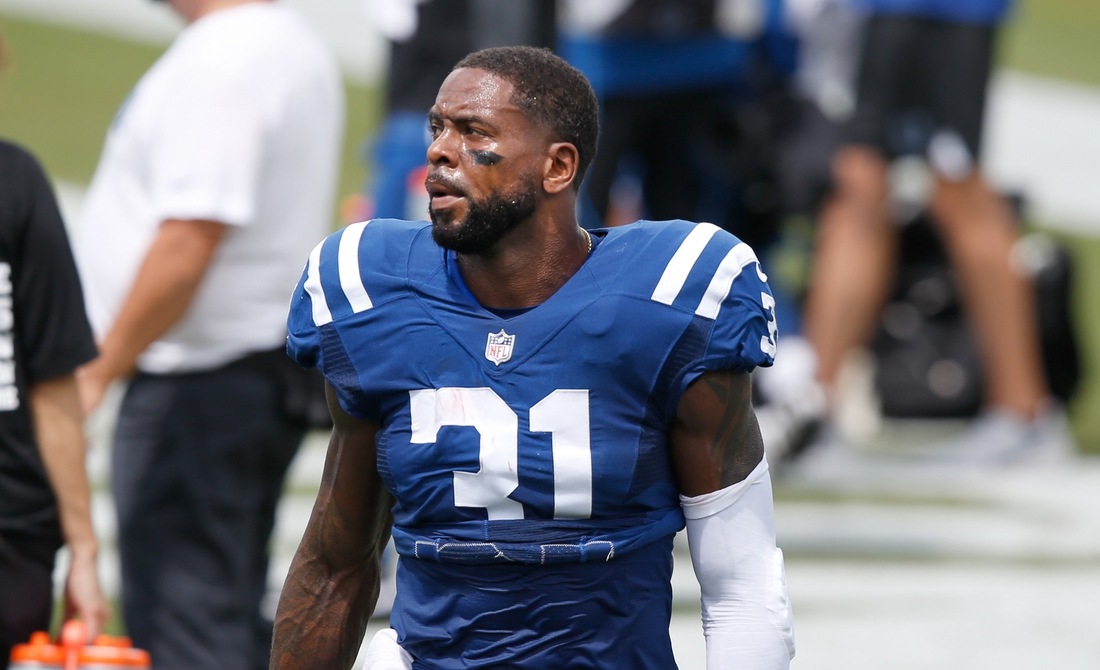 Sep 13, 2020; Jacksonville, Florida, USA;  Indianapolis Colts defensive back Tavon Wilson (31) walks on the bench before the first quarter against the Jacksonville Jaguars at TIAA Bank Field. Mandatory Credit: Reinhold Matay-USA TODAY Sports