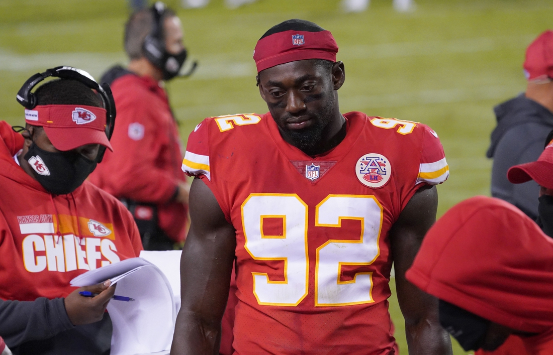 Sep 10, 2020; Kansas City, Missouri, USA; Kansas City Chiefs defensive end Tanoh Kpassagnon (92) on the sidelines during the game against the Houston Texans at Arrowhead Stadium. Mandatory Credit: Denny Medley-USA TODAY Sports