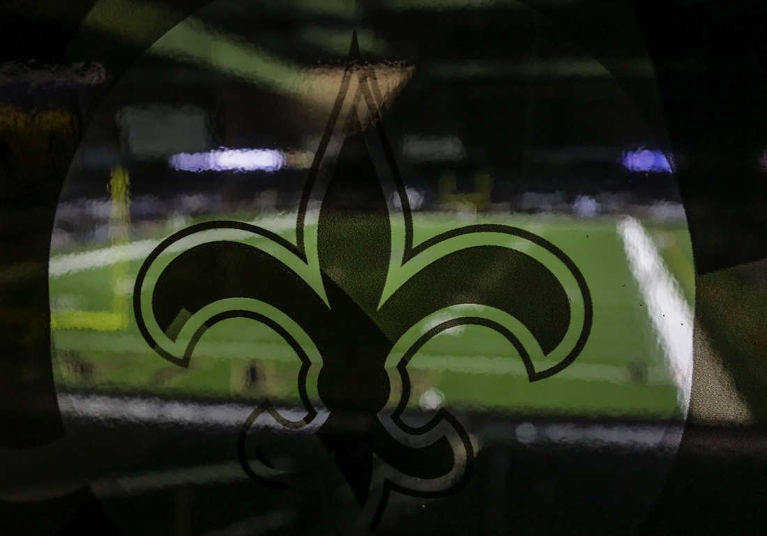 Sep 27, 2020; New Orleans, Louisiana, USA; A general view of the New Orleans Saints logo prior to kickoff against the Green Bay Packers at the Mercedes-Benz Superdome. Mandatory Credit: Derick E. Hingle-USA TODAY Sports
