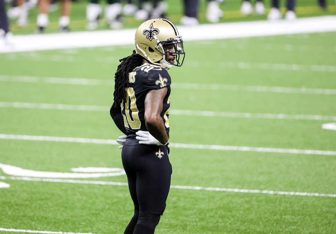 Sep 27, 2020; New Orleans, Louisiana, USA; New Orleans Saints cornerback Janoris Jenkins (20) against the Green Bay Packers during the second quarter at the Mercedes-Benz Superdome. Mandatory Credit: Derick E. Hingle-USA TODAY Sports