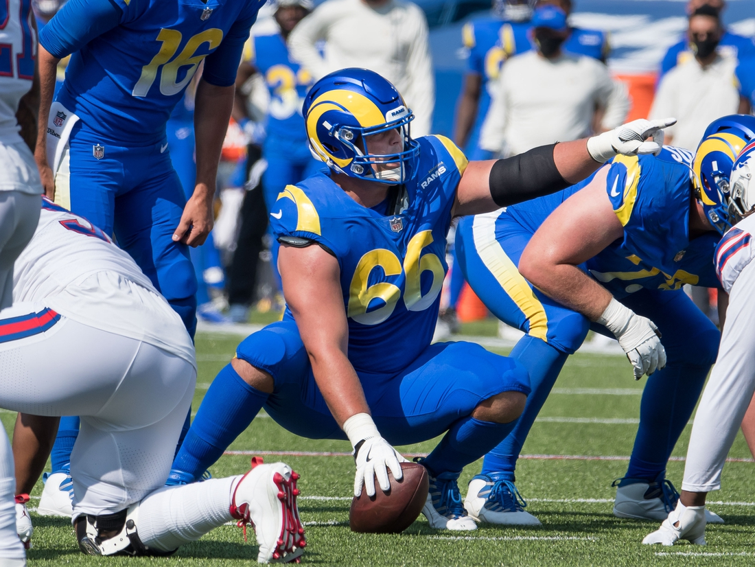 Sep 27, 2020; Orchard Park, New York, USA; Los Angeles Rams center Austin Blythe (66) points out a blocking scheme against the Buffalo Bills in the second quarter at Bills Stadium. Mandatory Credit: Mark Konezny-USA TODAY Sports