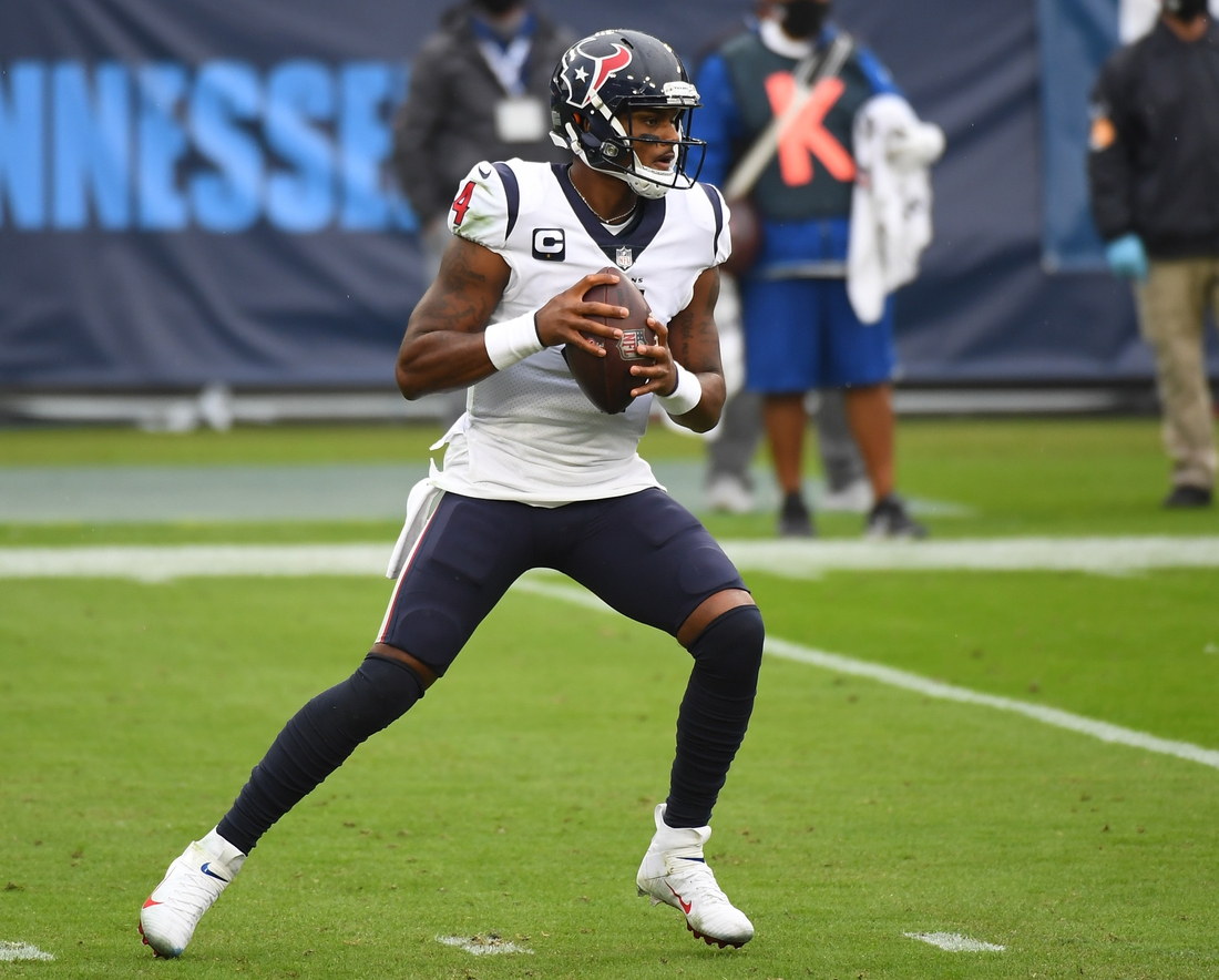 Oct 18, 2020; Nashville, Tennessee, USA; Houston Texans quarterback Deshaun Watson (4) drops back to pass during the second half against the Tennessee Titans at Nissan Stadium. Mandatory Credit: Christopher Hanewinckel-USA TODAY Sports
