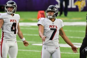 Oct 18, 2020; Minneapolis, Minnesota, USA; Atlanta Falcons kicker Younghoe Koo (7) and punter Sterling Hofrichter (4) in action during the game between the Minnesota Vikings and the Atlanta Falcons at U.S. Bank Stadium. Mandatory Credit: Jeffrey Becker-USA TODAY Sports