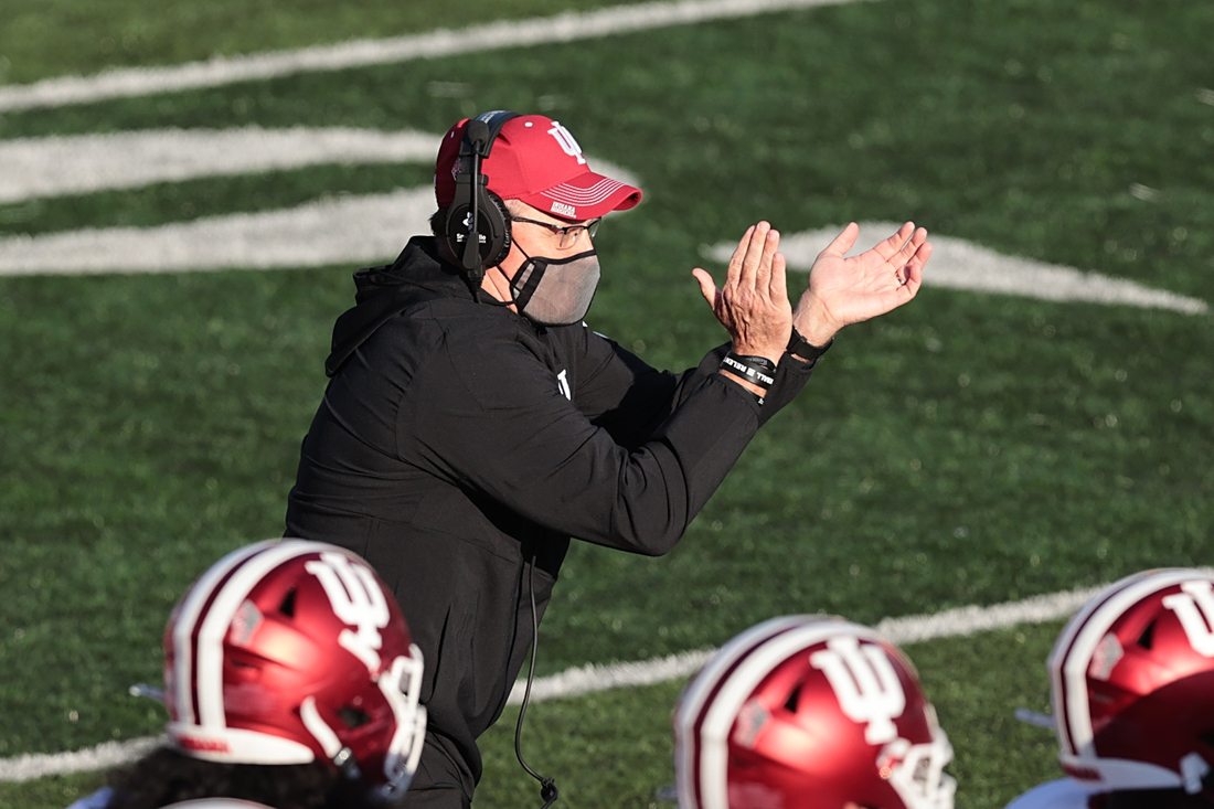 Oct 31, 2020; Piscataway, New Jersey, USA; Indiana Hoosiers head coach Tom Allen claps during the first half against the Rutgers Scarlet Knights at SHI Stadium. Mandatory Credit: Vincent Carchietta-USA TODAY Sports