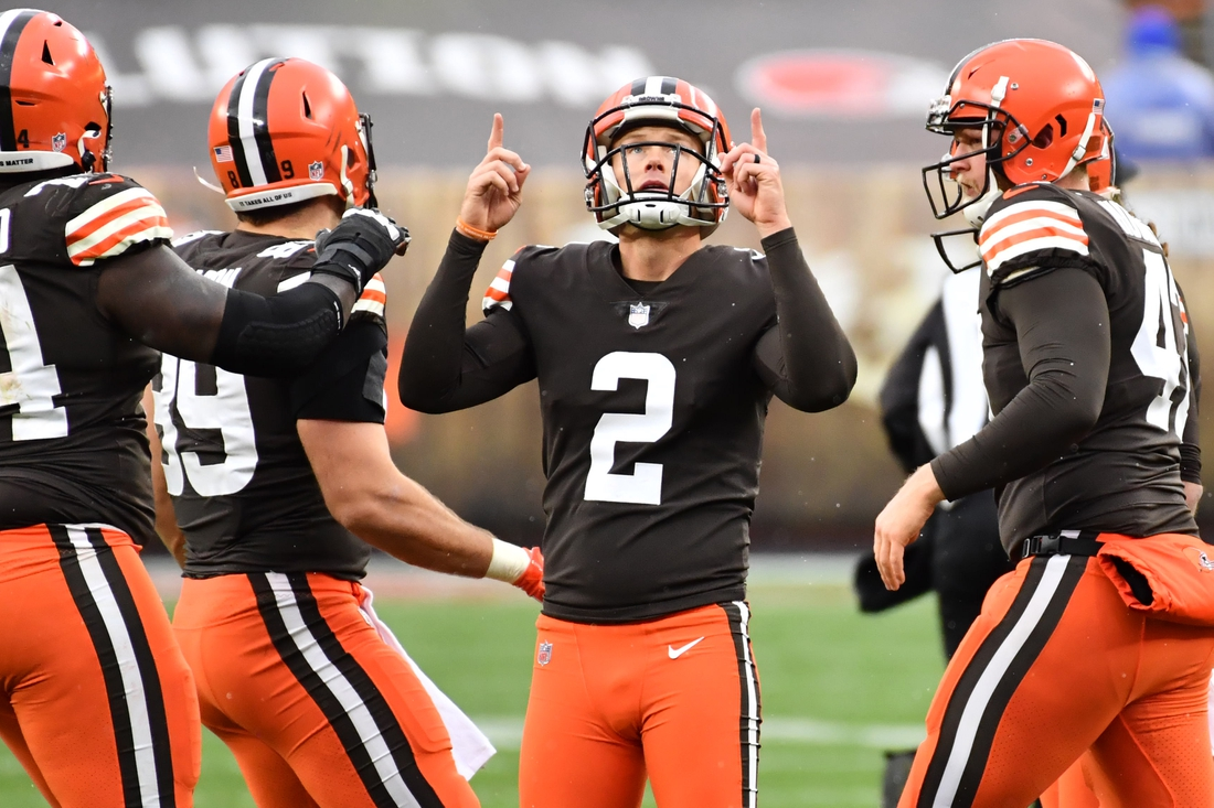 Nov 1, 2020; Cleveland, Ohio, USA; Cleveland Browns kicker Cody Parkey (2) celebrates after kicking a field goal during the second half against the Las Vegas Raiders at FirstEnergy Stadium. Mandatory Credit: Ken Blaze-USA TODAY Sports