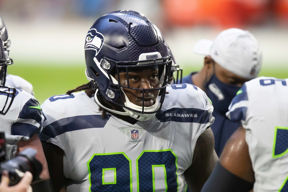 Oct 25, 2020; Glendale, Arizona, USA; Seattle Seahawks defensive tackle Jarran Reed (90) prior to the game against the Arizona Cardinals at State Farm Stadium. Mandatory Credit: Billy Hardiman-USA TODAY Sports