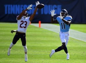 Nov 8, 2020; Nashville, Tennessee, USA; Chicago Bears cornerback Kyle Fuller (23) breaks up a pass intended for Tennessee Titans wide receiver A.J. Brown (11) during the first half at Nissan Stadium. Mandatory Credit: Christopher Hanewinckel-USA TODAY Sports