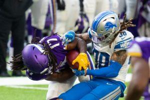 Nov 8, 2020; Minneapolis, Minnesota, USA; Detroit Lions defensive back Mike Ford (38) tackles Minnesota Vikings wide receiver K.J. Osborn (17) in the fourth quarter at U.S. Bank Stadium. Mandatory Credit: Brad Rempel-USA TODAY Sports
