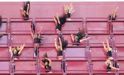 Nov 8, 2020; Landover, Maryland, USA; Members of the Washington Football Team cheerleaders dance in the stands against the New York Giants at FedExField. Mandatory Credit: Geoff Burke-USA TODAY Sports