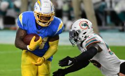 Nov 15, 2020; Miami Gardens, Florida, USA; Los Angeles Chargers running back Kalen Ballage (31) runs the ball against the Miami Dolphins during the second half at Hard Rock Stadium. Mandatory Credit: Jasen Vinlove-USA TODAY Sports