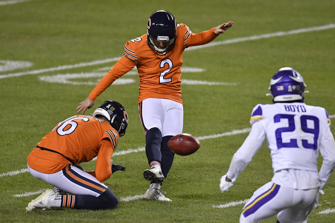 Nov 16, 2020; Chicago, Illinois, USA; Chicago Bears kicker Cairo Santos (2) kicks a field goal in the first half against the Minnesota Vikings at Soldier Field. Mandatory Credit: Quinn Harris-USA TODAY Sports