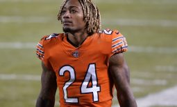 Nov 16, 2020; Chicago, Illinois, USA; Chicago Bears cornerback Buster Skrine (24) walks off the field after losing to the Minnesota Vikings at Soldier Field. Mandatory Credit: Mike Dinovo-USA TODAY Sports