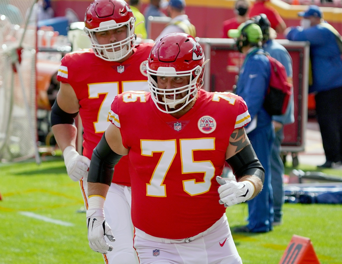 Nov 8, 2020; Kansas City, Missouri, USA; KKansas City Chiefs offensive tackle Mike Remmers (75) enters the field during warm ups before the game against the Carolina Panthers at Arrowhead Stadium. Mandatory Credit: Denny Medley-USA TODAY Sports