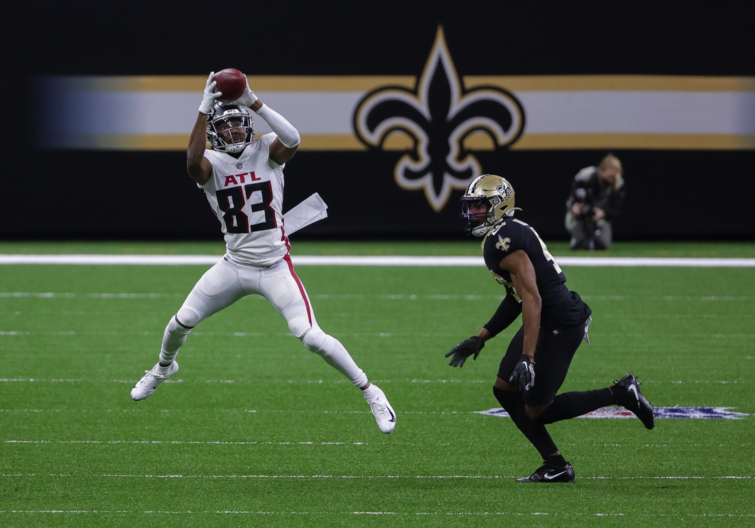 Nov 22, 2020; New Orleans, Louisiana, USA; Atlanta Falcons wide receiver Russell Gage (83) catches a pass against New Orleans Saints free safety Marcus Williams (43) during the second quarter at the Mercedes-Benz Superdome. Mandatory Credit: Derick E. Hingle-USA TODAY Sports