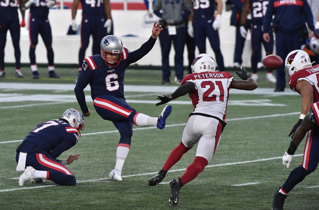 Nov 29, 2020; Foxborough, Massachusetts, USA;  New England Patriots kicker Nick Folk (6) kicks the game winning field goal with no time left on the clock during the second half against the Arizona Cardinals at Gillette Stadium. Mandatory Credit: Bob DeChiara-USA TODAY Sports