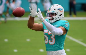 Dec 6, 2020; Miami Gardens, Florida, USA; Miami Dolphins middle linebacker Kyle Van Noy (53) warms up prior to the game against the Cincinnati Bengals at Hard Rock Stadium. Mandatory Credit: Jasen Vinlove-USA TODAY Sports