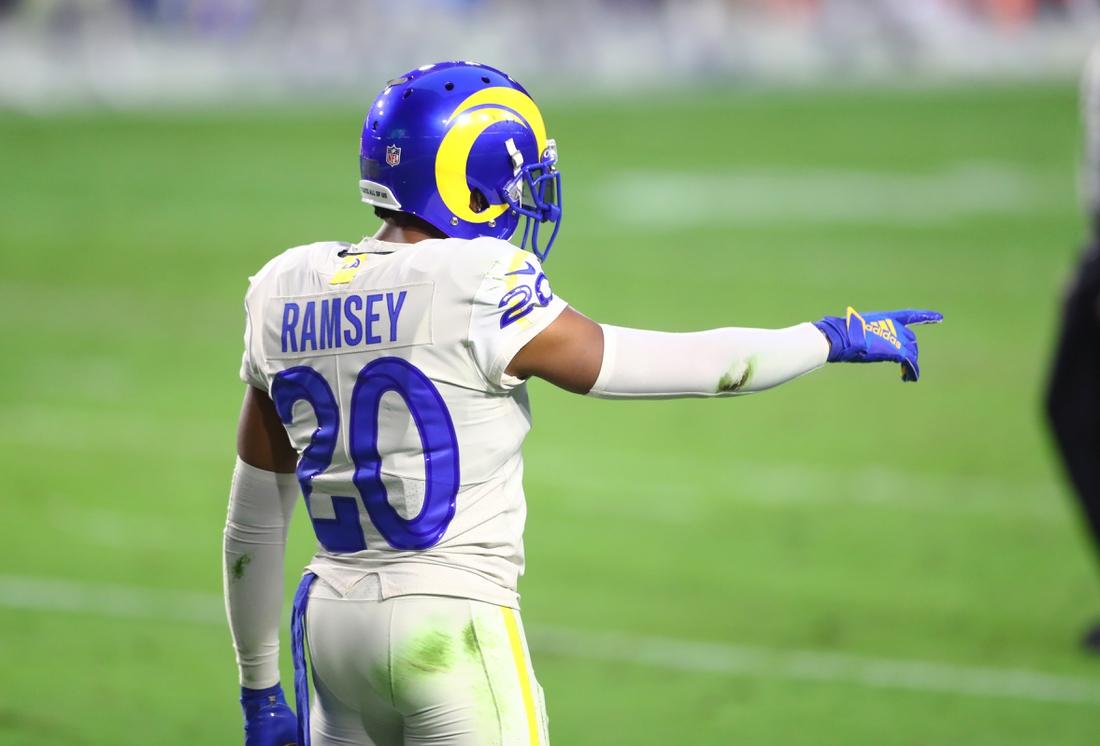 Dec 6, 2020; Glendale, Arizona, USA; Los Angeles Rams cornerback Jalen Ramsey (20) reacts against the Arizona Cardinals at State Farm Stadium. Mandatory Credit: Mark J. Rebilas-USA TODAY Sports