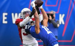 Dec 13, 2020; East Rutherford, New Jersey, USA; New York Giants wide receiver Golden Tate (15) catches a pass at the one yard line against Arizona Cardinals cornerback Byron Murphy Jr. (33) during the second half at MetLife Stadium. Mandatory Credit: Robert Deutsch-USA TODAY Sports
