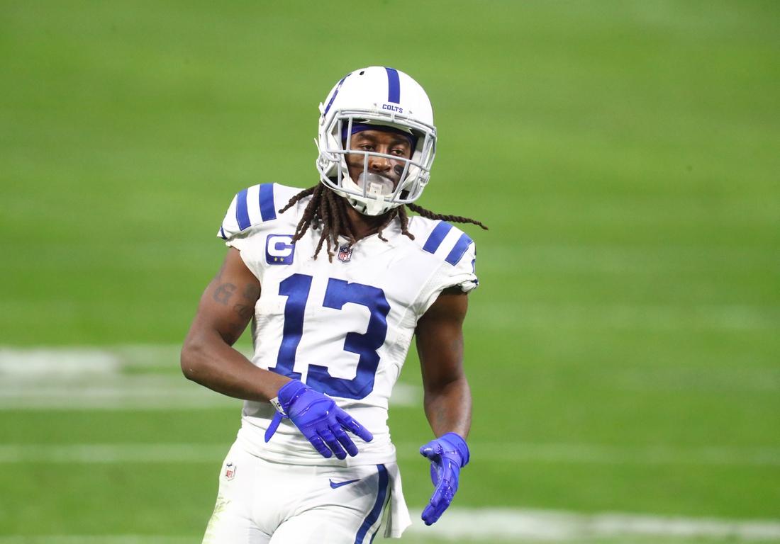 Dec 13, 2020; Paradise, Nevada, USA; Indianapolis Colts wide receiver T.Y. Hilton (13) against the Las Vegas Raiders at Allegiant Stadium. Mandatory Credit: Mark J. Rebilas-USA TODAY Sports