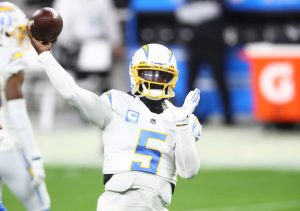 Dec 17, 2020; Paradise, Nevada, USA; Los Angeles Chargers quarterback Tyrod Taylor (5) against the Las Vegas Raiders at Allegiant Stadium. Mandatory Credit: Mark J. Rebilas-USA TODAY Sports