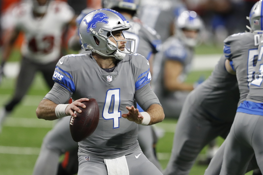 Dec 26, 2020; Detroit, Michigan, USA; Detroit Lions quarterback Chase Daniel (4) drops back to pass against the Tampa Bay Buccaneers during the second quarter at Ford Field. Mandatory Credit: Raj Mehta-USA TODAY Sports