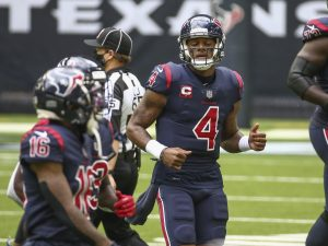 Dec 27, 2020; Houston, Texas, USA; Houston Texans quarterback Deshaun Watson (4) jogs off the field after a play against the Cincinnati Bengals during the first quarter at NRG Stadium. Mandatory Credit: Troy Taormina-USA TODAY Sports