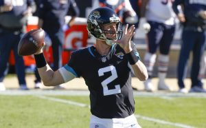 Dec 27, 2020; Jacksonville, Florida, USA; Jacksonville Jaguars quarterback Mike Glennon (2) throws a pass against the Chicago Bears during the first quarter at TIAA Bank Field. Mandatory Credit: Reinhold Matay-USA TODAY Sports