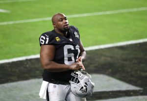 Dec 26, 2020; Paradise, Nevada, USA; Las Vegas Raiders center Rodney Hudson (61) reacts as he walks off the field following the game against the Miami Dolphins at Allegiant Stadium. Mandatory Credit: Mark J. Rebilas-USA TODAY Sports